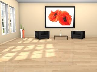3d Rendering Raum mit Sesseln, Wartezimmer, Büro