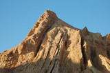 Geological layers on the top of mountain in Negev Desert. poster