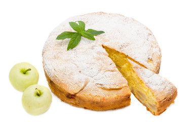apple sponge cake with icing sugar and apples