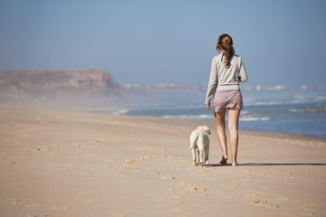 Walking with her dog