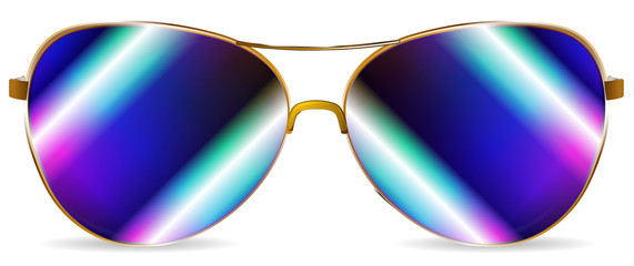 abstract blue sunglasses isolated on white background