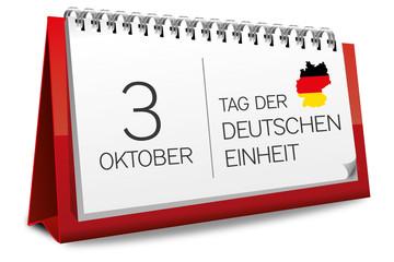 Kalender rot 3 Oktober Tag der Deutschen Einheit Deutschland