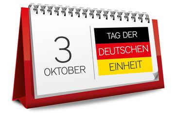 Kalender rot 3 Oktober Tag der Deutschen Einheit Flagge