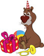 Birthday. A bear and gifts. Cartoon