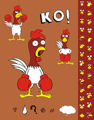chicken boxing cartoon set1