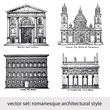 vector set: romanesque architectural style