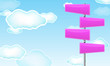 pink blank road sign with cloud