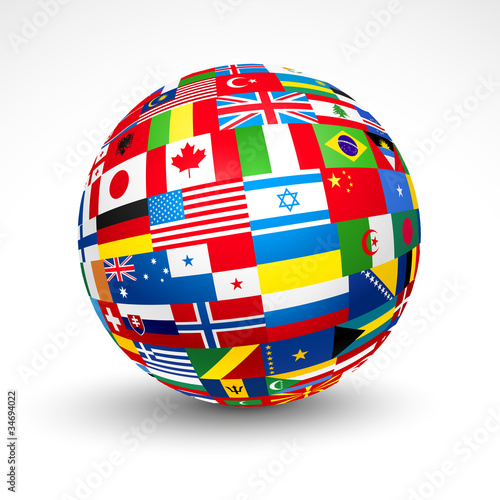 World flags sphere. Vector illustration. - 34694022