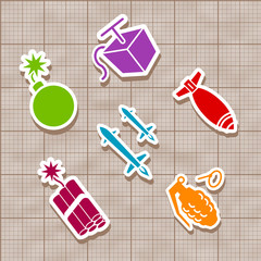 Isolated Vector bomb and rocket stickies