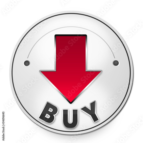 Round label BUY with red arrow