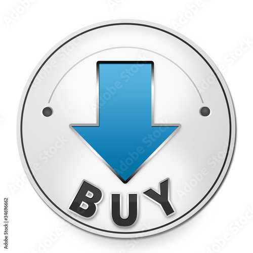 Round label BUY with blue arrow