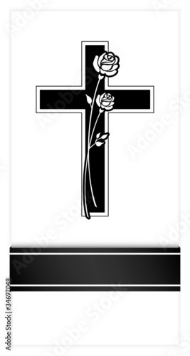 Mourning Card Black Cross, Ribbon & 2 Roses