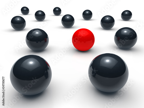 3d ball network red black
