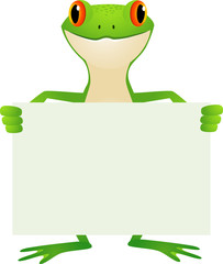 frog and blank sign