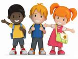 Fototapety 3D Render of Happy School Kids