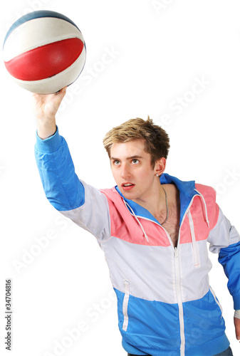 Basketball player in scoring action