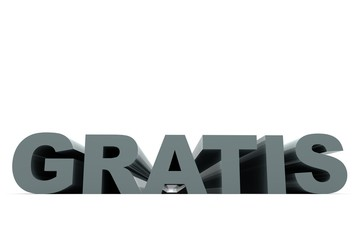 Schriftzug GRATIS graublau