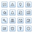 Organizer icons on blue buttons.