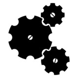 Three black sketchy gear wheels on a white background poster