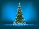 Abstract green christmas tree on blue. EPS 8