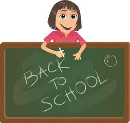 Vector school girl with black board