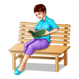 Illustration of a girl sitting on a bench reading a book