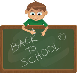 Vector school boy with black board