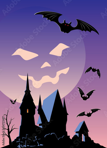 Vector Halloween party invitation or background