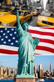 New York, statue de la liberté, taxi, skyline