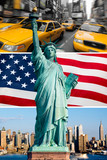 Fototapety New York, statue de la liberté, taxi, skyline