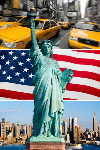 Foto op Plexiglas New York TAXI New York, statue de la liberté, taxi, skyline
