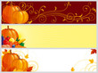 banners with pumpkins, vegetables and leaves for web design