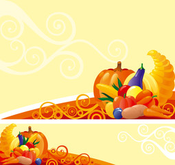 Backgrounds of Horn of Plenty with pumpkins and other vegetables