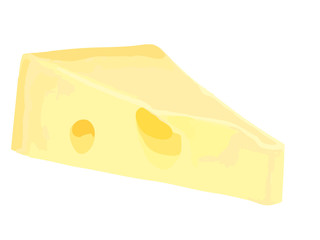 Piece of fresh cheese on white background.