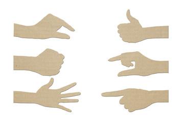 Set of gesture Hand paper symbol
