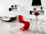Fototapety Minimalism and baroque Furniture in interior. Modern sofa, Chair