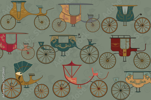 Background with vintage carriages