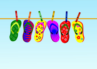 Colorful flip-flops - Vector illustration