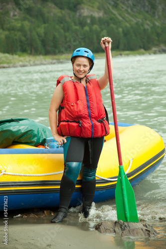 Girl with  paddle