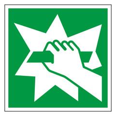 Rettungszeichen Aufbrechen Schild Zeichen Symbol