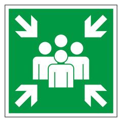 Rettungszeichen Sammelstelle Sammelplatz Piktogramm Zeichen