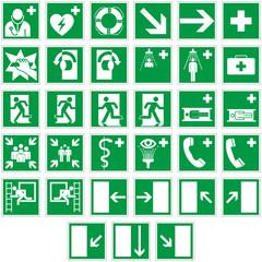 Rettungszeichen Schilder Set Piktogramm Zeichen Symbole