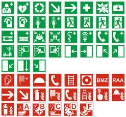 Rettungszeichen Brandschutzzeichen Brandklassen Set