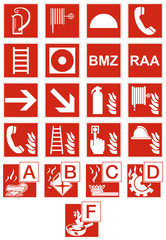 Brandschutzzeichen und Brandklassen Set Zeichen Symbol