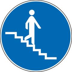 Gebotszeichen Treppe abwärts runter Schild Zeichen