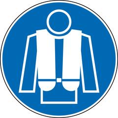Gebotszeichen Rettungsweste tragen benutzen Schild