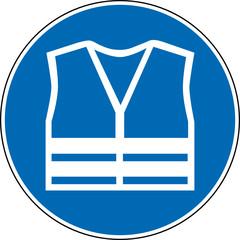 Gebotszeichen Warnweste Schild Zeichen Symbol
