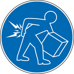 Gebotszeichen Rücken beim Heben nicht beugen Schild