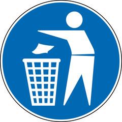 Gebotszeichen Mülleimer benutzen verwenden Schild