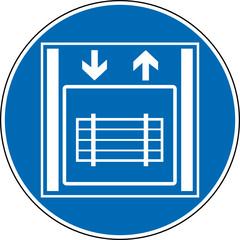 Gebotszeichen Lastenaufzug Schild Zeichen Symbol